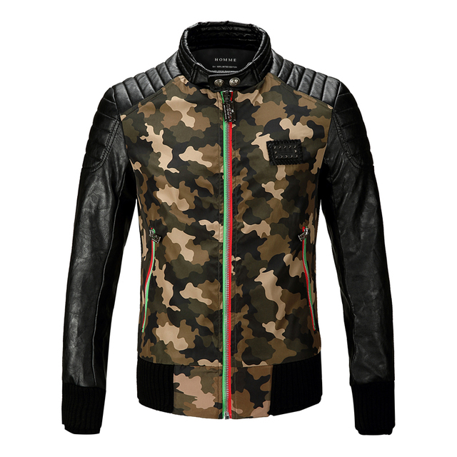 2016 Camouflage Winter Luxury Men's Leather Jacket Faux Fur PU Motorcycle Biker Pilot Veste Vuir Homme Fashion Jaqueta De Couro