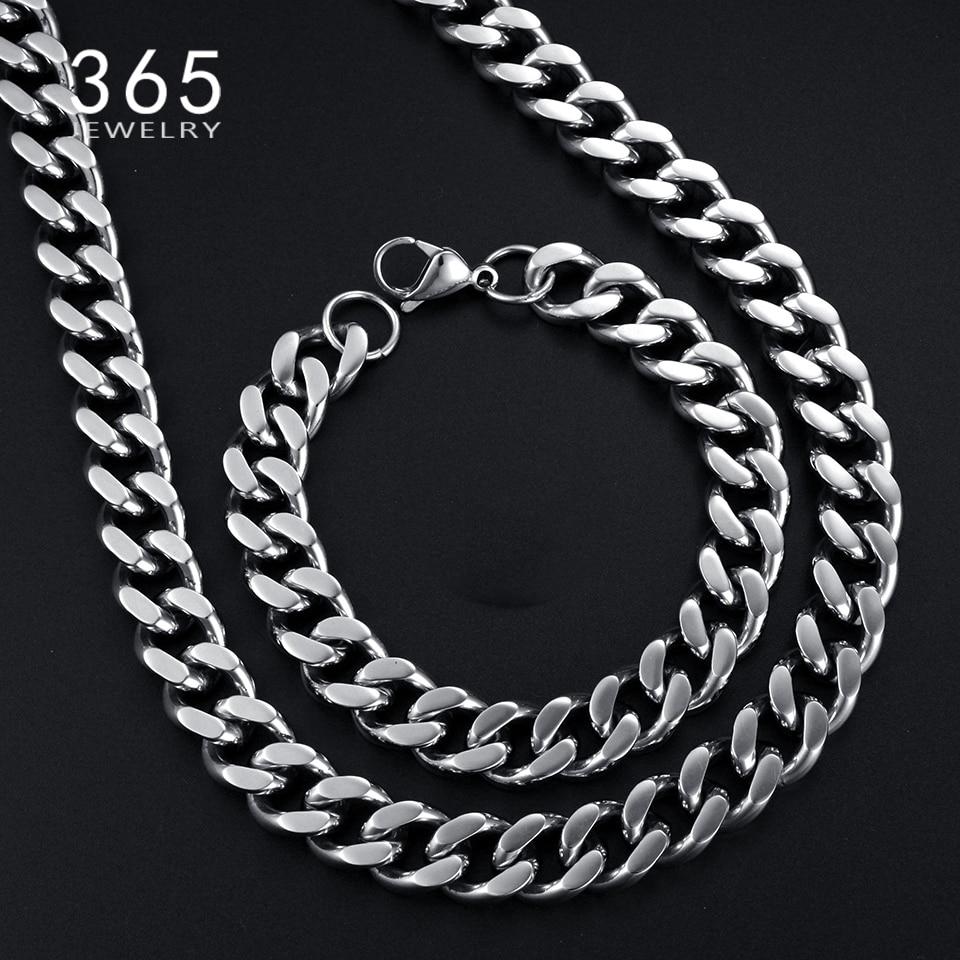 56c8e05416db Venta caliente mens Acero inoxidable Dubai Juegos de joyería para novia  collar de cadena de plata de la moda pulsera Sets para el regalo del  banquete de ...