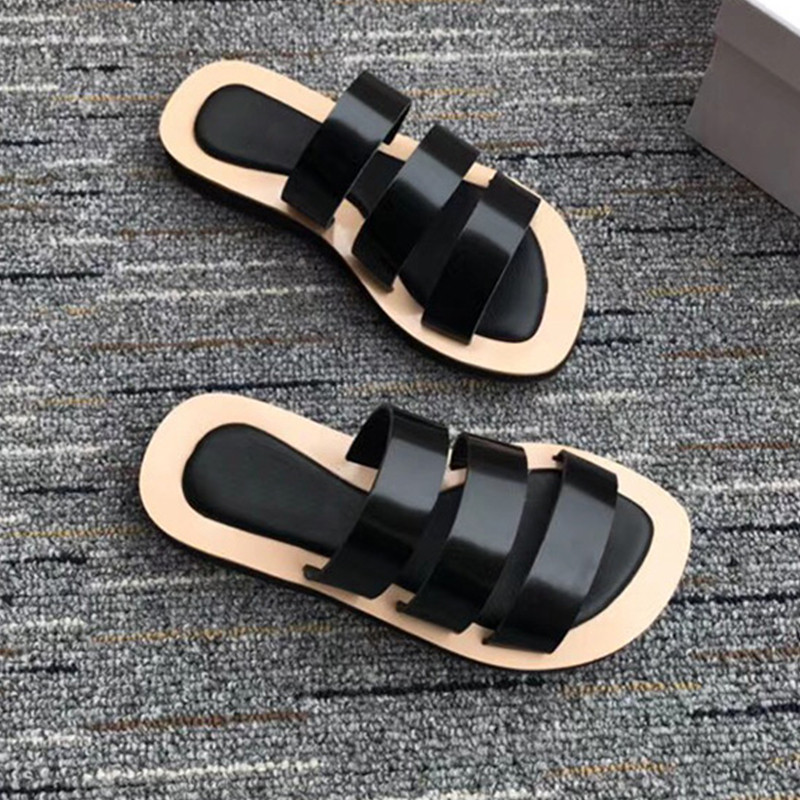 Rome Design Flats Flip Flops Black Solid Leisure Shoes Woman Slip-on Summer Gladiator Sandals Women Slippers Platform Shoes 40 anmairon shallow leisure striped sandals women flats shoes new big size34 43 pu free shipping fashion hot sale platform sandals