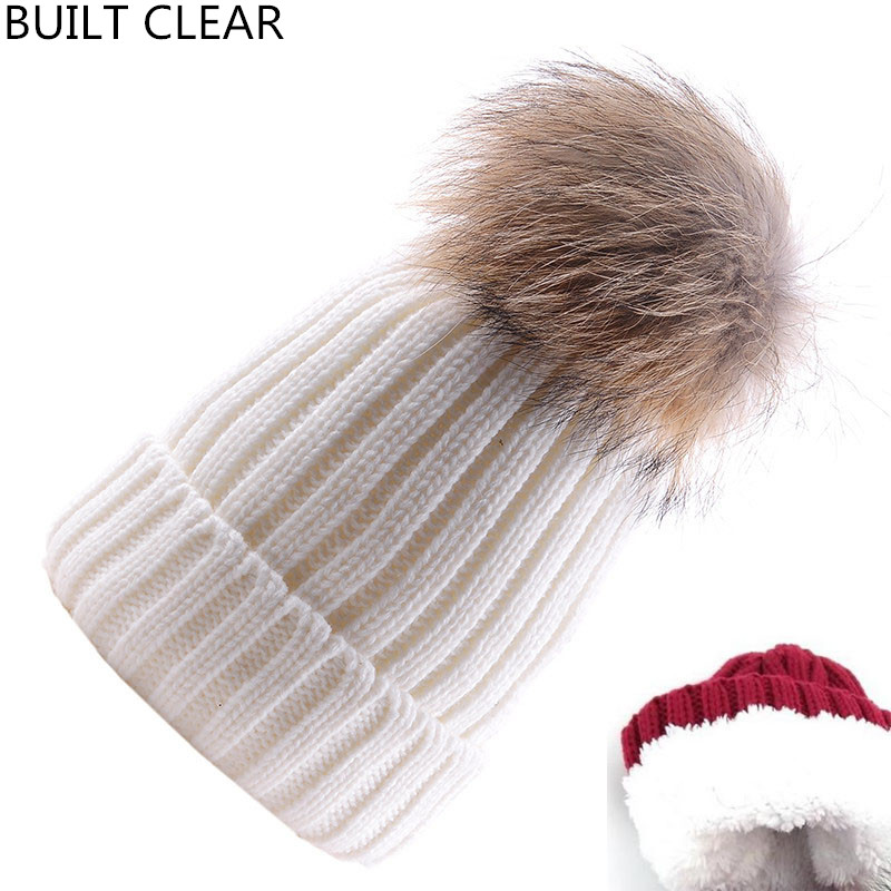 (BUILT CLEAR) Women's Cashmere Warm Winter Knit Woolen Skullie Casual 15cm Genuine Rattan Fur Hat Balaclava women one piece triangle swimsuit cover up sexy v neck strappy swimwear dot dress pleated skirt large size bathing suit 2017