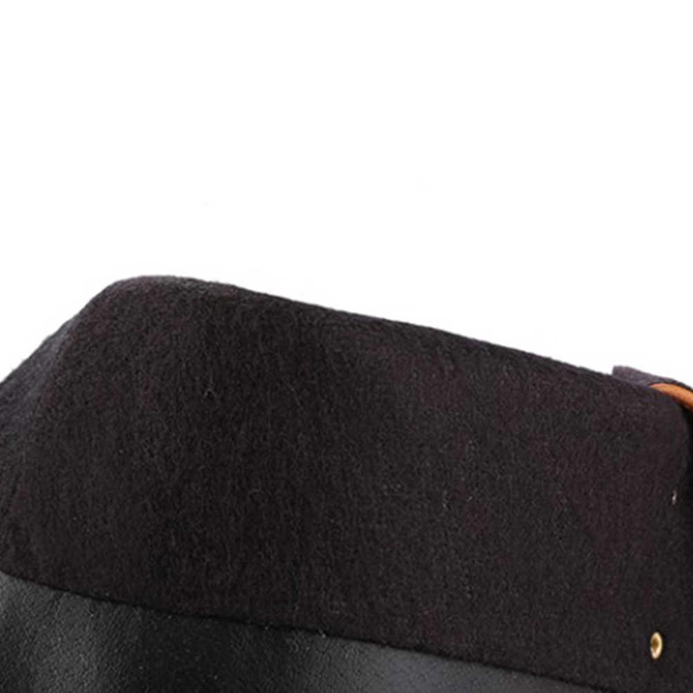 BONJOMARISA Büyük Boy 34-43 Moda Dantel-up binici çizmeleri Kadınlar 2019 Sonbahar Diz Yüksek Çizmeler Bayanlar Med Topuklar ayakkabı Kadın