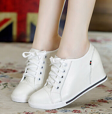 Hot-Selling Black+White Women Genuine Leather Shoes Woman Fashion Hidden Wedge Heel Lace Up  Casual Shoes Size32-40