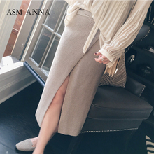 2018 New Autumn Women Clothing 3D Knitted Texture High Slit Slimming Middle Skirt 2957
