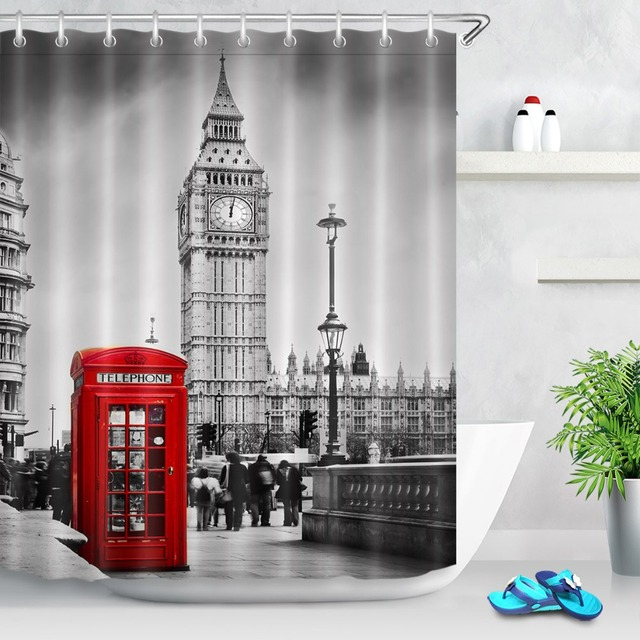Retro London Big Ben Red Phone Booth Scenery Waterproof Bathroom ...