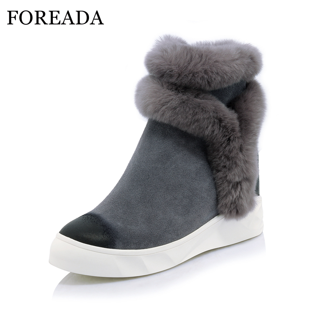 FOREADA Genuine Leather Women Ankle Boots Winter Warm Platform Boots Rabbit Fur Leather Boots Lady Hidden Heel Wedge Shoes 2018 foreada genuine leather boots winter women real rabbit fur ankle boots sewing platform wedge high heel snow boots zip lady shoes