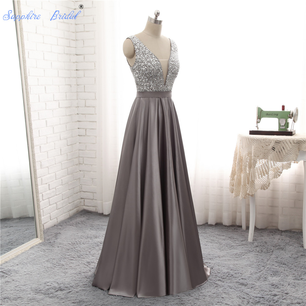 Sapphire Bridal 2019 New Arrival Silver Grey Burgundy A Line Satin Top Beaded   Evening     Dress   Hot Sale