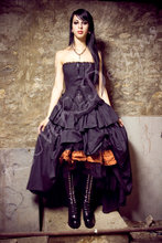 Steampunk Dress Gothic Lolita Inspired Vampire in Black Cotton- SMALL andXLARGE Samples