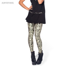 Punk Gothic Clothing Women 3D Skull Leggings White Bone Skeleton Neon Shiny Pants Stretch Legging Seamless Ankle Length Trousers
