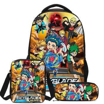 Cartoon Beyblade Burst Game 3D Print 3pcs/Set Students Backpack Pencil Bag Men Bookbags School Bags For Girls Boys Kids Bagpack
