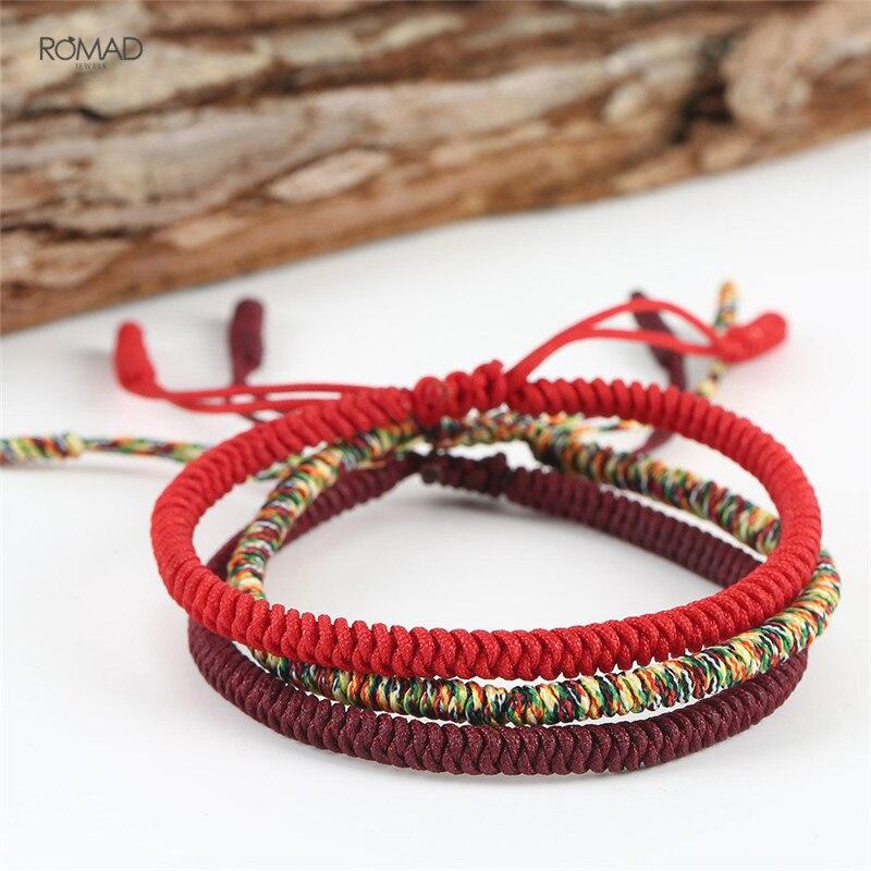 1c26644be9662 Original Multi Color Tibetan Buddhist Handmade Knots Lucky Rope Bracelet  Size Adjustable Nylon Thread Red Rope