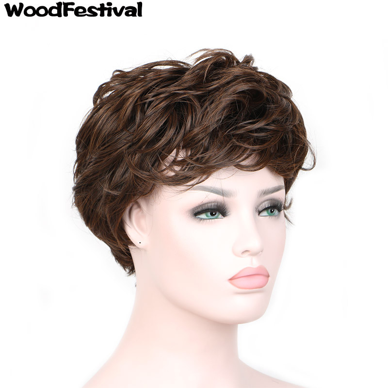 WoodFestival 8inch Heat Resistant Women Wigs with bangs Cosplay Short Brown Curly Synthetic Wig