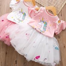 Летнее платье с единорогом; Одежда для девочек; Детский костюм с единорогом; вечерние комплекты одежды для девочек