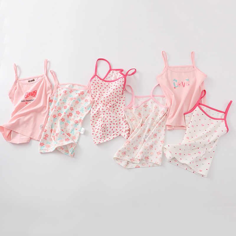 Летняя футболка для маленьких девочек, милая одежда без рукавов с героями мультфильмов, футболки без рукавов для детей, детская верхняя одежда, tops2-8T