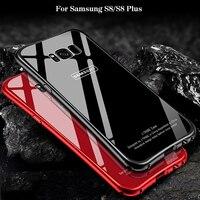 2017 New For Samsung S8 Plus Case Luxury Glitter Slim Hard Aluminum Metal Frame Tempered Glass