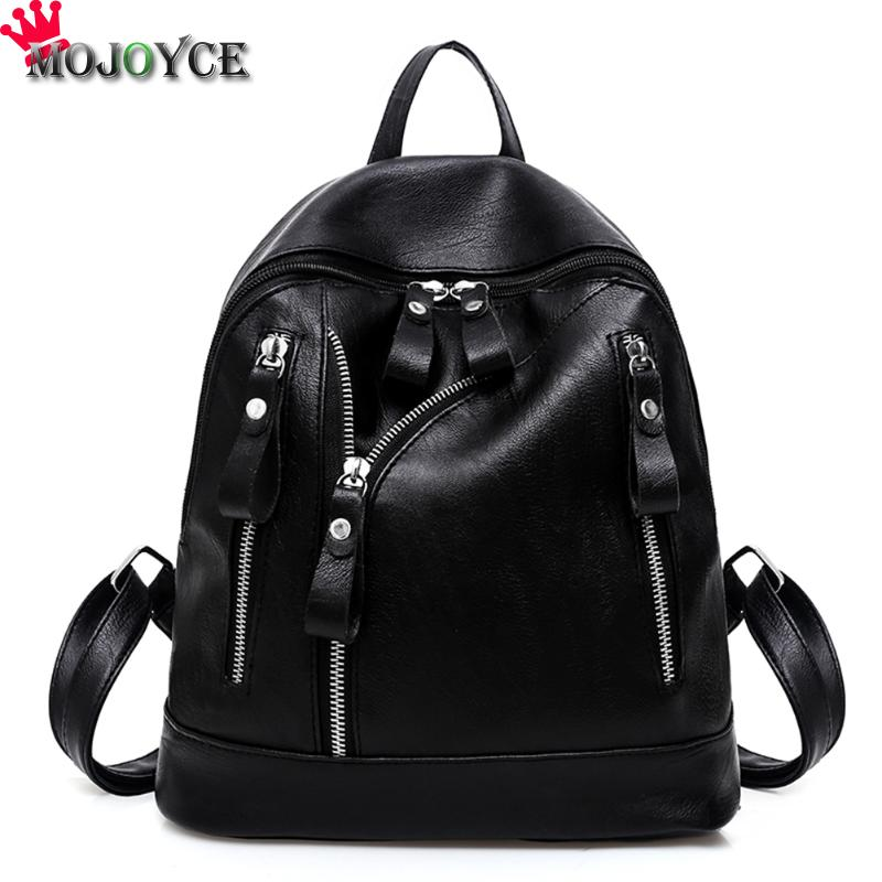 Pu Leather Backpack Women Black Wateproof Rucksack Female School Bags Mochila Escolar Teenager Girls Sac A Dos Back Pack
