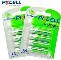 PKCELL 8pcs AA Rechargeable Battery AA NiMH 1 2V 2200mAh Ni MH 2A Pre Charged Bateria