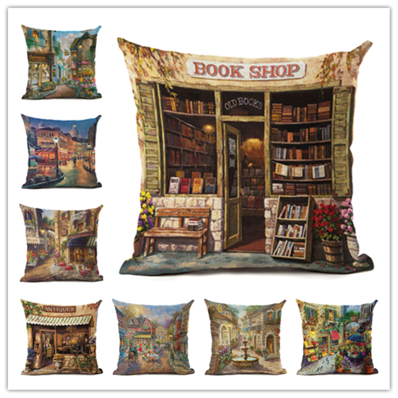 Hot Selling Street Alley Linen Cotton Square Retro Floral Home Decor Throw Pillow Cushion Cover Cojines