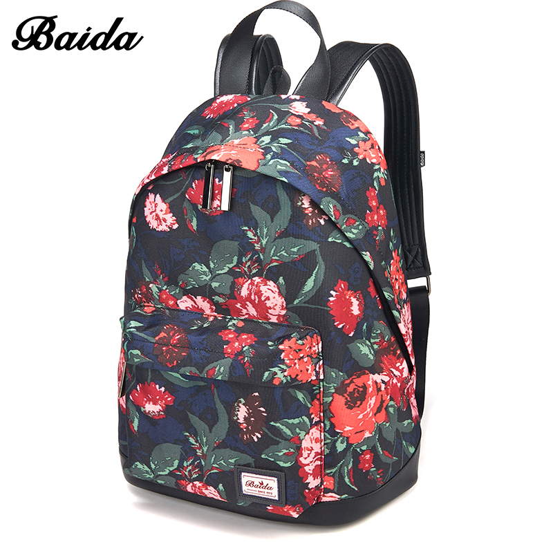DAIDA Floral Printing Backpack Women Fashion Schoolbag Teenagers Girl's Shoulder Backbag Female Mochila Top Quality american edison loft style rope retro pendant light fixtures for dining room iron hanging lamp vintage industrial lighting page 9