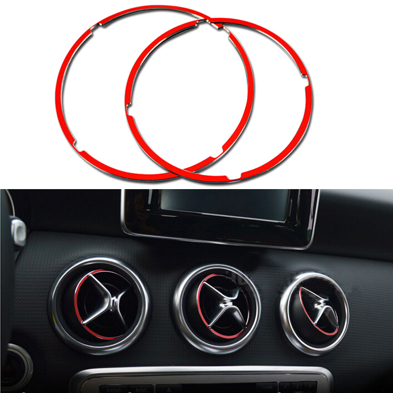 2014 2015 For Mercedes-Benz CLA-Class C117 W117 Interior Molding Dashboard Air Conditioning Outlet Vent Cover Ring Red 5pcs Mercedes-Benz CLA-класс
