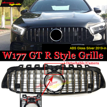W177 GT R grille With Camera For MercedesMB Front Grille A180 A200 A250 Without Emblem Silver Bumper 2019-in
