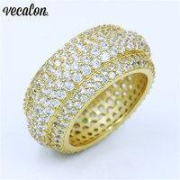 Vecalon Luxury Women ring Pave set 320pcs 5A Zircon Cz Yellow Gold Filled 925 silver Anniversary wedding ring for women men