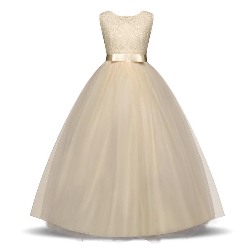 Elegant Flower Girl Dress Teenage White Formal Prom Gown for Wedding Kids Girls Long Dresses Children Clothing New Tutu Princess 4