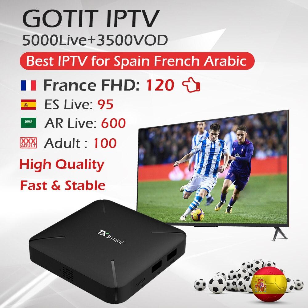 TX3Mini アンドロイド 7.1 テレビボックス + 1 年フランスアラビアスペイン IPTV 1 グラム/16 グラム & 2 グラム /16 グラム Amlogic S905W 4 18K H.265 WiFi GOTIT IPTV 王 OTT IPTV  グループ上の 家電製品 からの セット トップ ボックス の中 1