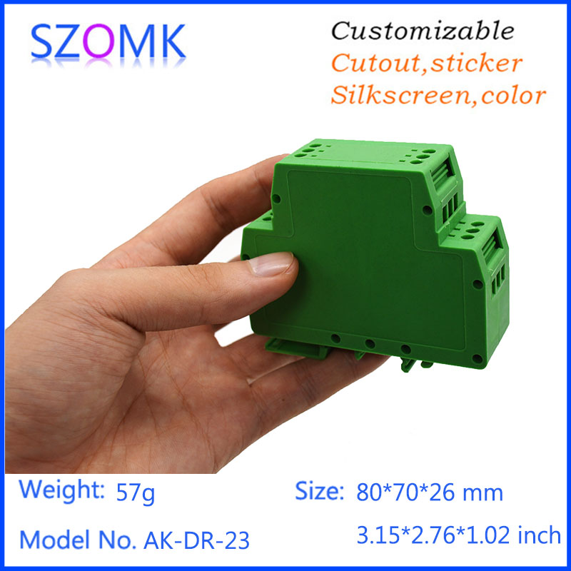 one piece szomk high quality housing case plastic plc din enclosure junction box electronic instrument enclosure  80*70*26mm 1 piece free shipping szomk diy wall mount plastic box abs card reader enclosure screen case lcd case rfid