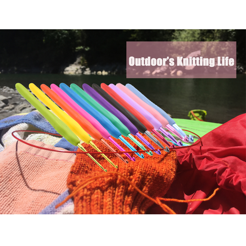 KOKNIT Colorful 12 PCS Crochet Hooks Soft Handle Ergonomic Knitting Needles Hooks Mixed 2 0 8 0mm DIY Weaving Tool Kit With Case in Sewing Needles from Home Garden