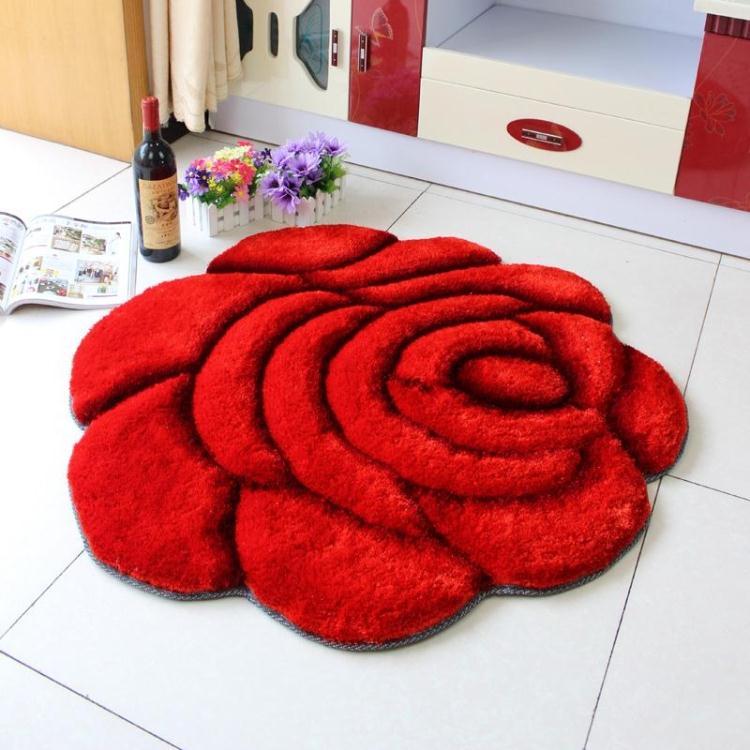 Объемный ворсистый круглый ковер с объемным цветком, коврики для дома, гостиной, свадьбы, тапеты, ворсистые ковры, толстые круглые ковры с цветочным рисунком - Цвет: single red