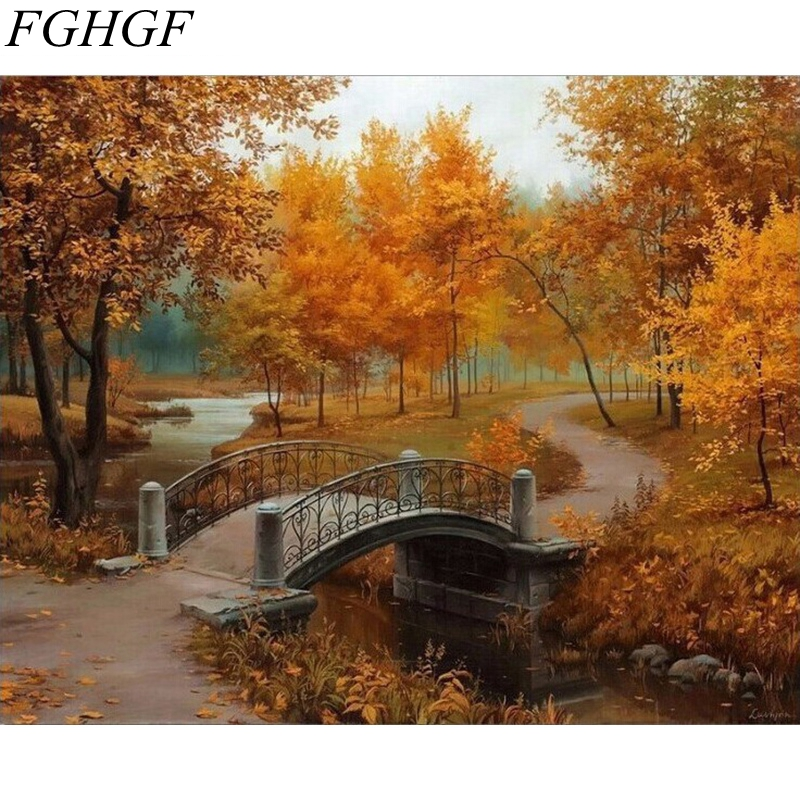 FGHGF Frameless Modern Painting The Eiffel Tower Landscape Diy Painting By Numbers Kits Drawing Paint By Numbers