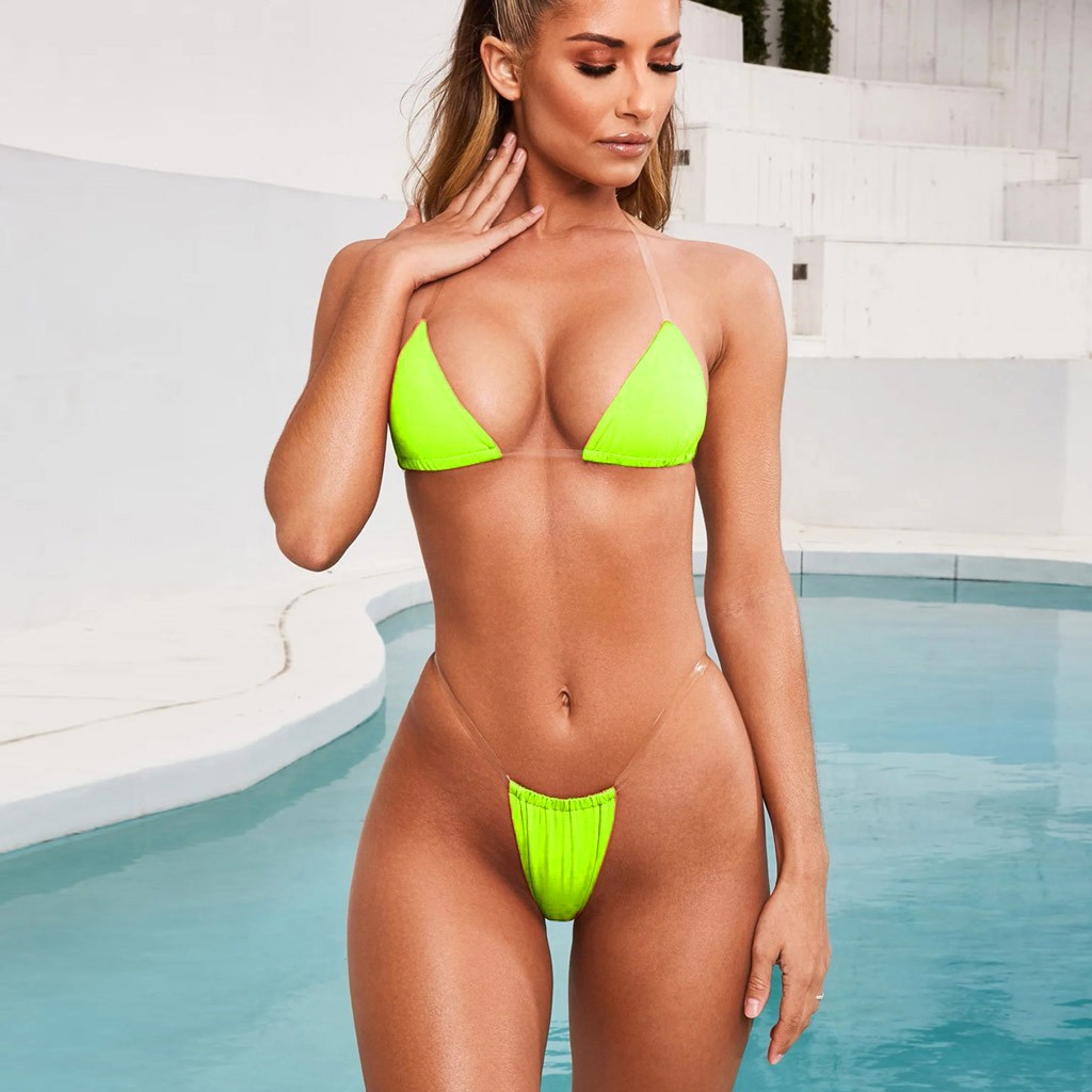 Sexy Swimsuit Micro Bikini New Fashion Women Sexy Lingerie Underwear Bra G-String Transparent Strap Set