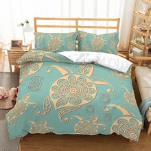 Gold Turtle Print Blue Bedding Set 2/3PCS Sea Animals Comforter Set Seaworld Duvet Cover Set Pillowcase Queen King Bed Linen Set(China)