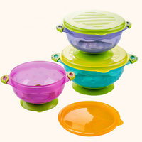Fruit Bowl With Lid Baby Slip Sucker Training Bowl Ears 3 Pieces Set