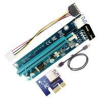100 компл./лот последняя версия pci e Riser Card PCI E 1x к 16x горные машины 6pin 4PIN molex 15pin Riser Card адаптер для BTC