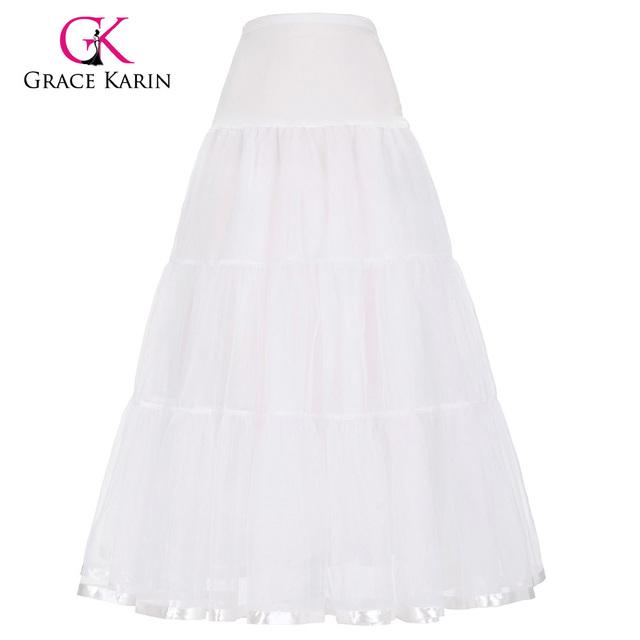 Graça Karin Branco Sob A Saia Crinolina Anágua de Tule vestido De Baile de Casamento Preto saias Longas Saia de Noiva Acessórios Para Noivas 2017