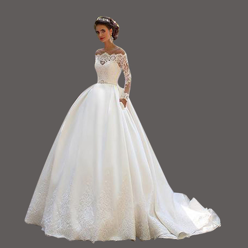 Puffy Long Sleeve Bridal font b Dresses b font Vestidos De Noivas Para Casamento 2017 Satin