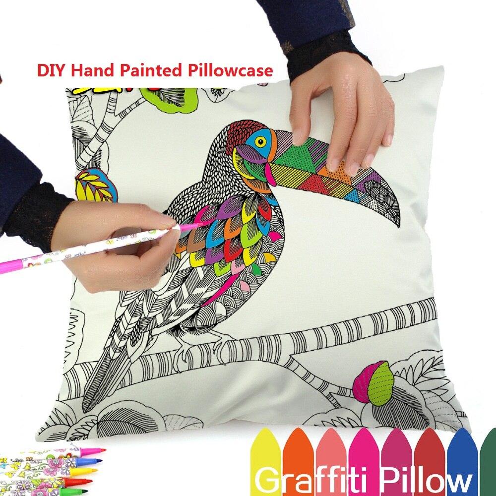 Imitation Silk Square Pillowcase Colourful Animal Creative DIY Hand Painted Decorative Cushion Cover Graffiti Pen Children Gifts