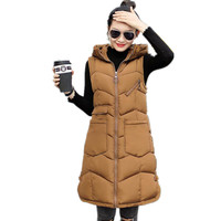New Autumn Winter Women Vest 2018 Fashion Plus Size 3XL Down Cotton Vest Winter Women Slim With Pockets Hooded Vest FemaleCQ2166