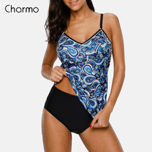 Charmo Women Floral Tankini Set Two Piece Swimsuit Retro Paisley Printed Swimwear Push Up Sexy Bikini Hollow Back Bathing Suit