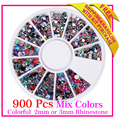 New High quality Nail Art Pearl Rhinestones Glitter Acrylic 900 pcs