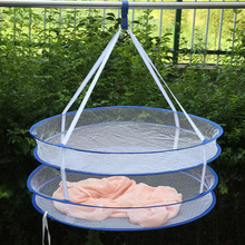 Dua Layer Pengeringan Nets S Hook Sweater Hanging Basket Laundry Basket Bekas Penyimpanan Penyimpanan Anti Angin dilipat 60 * 48cm
