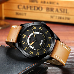 Image 2 - CURREN Date Mens Watches Luxury Sport Watch Quartz Calendar Watch Casual Business Leather Male Clock Military Wristwatches