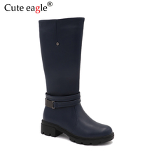 Cute eagle Winter Leather Felt Boots Children Girls Shoes Kids Warm With Plush Snow Boots Girls Baby Fashion High Rubber Boots