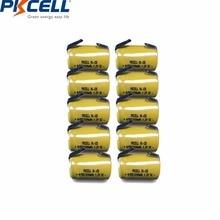 10 قطعة PKCELL 4/5 SC Sub C 1.2 فولت بطارية نيكل كادميوم 1200MAH SC بطاريات قابلة للشحن مع علامات التبويب لحام كهربائي الحفر مفك
