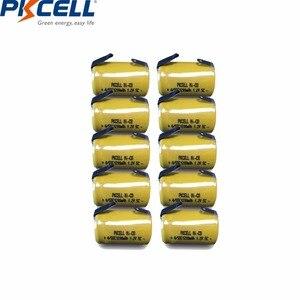 Image 1 - 10 قطعة PKCELL 4/5 SC Sub C 1.2 فولت بطارية نيكل كادميوم 1200MAH SC بطاريات قابلة للشحن مع علامات التبويب لحام كهربائي الحفر مفك