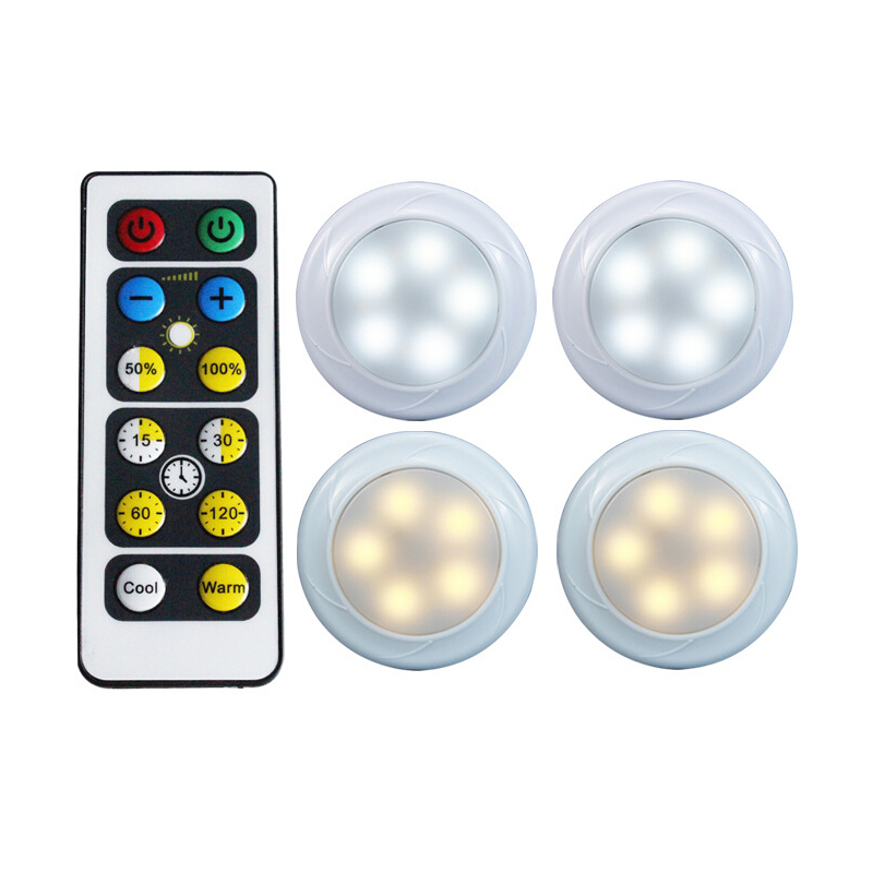 New 4PCS LED Night Light Remote Control Wall Light For Night Kitchen Wall Light Wardrobe Cabinet Warm White/White Color color change remote control led animal shape night light