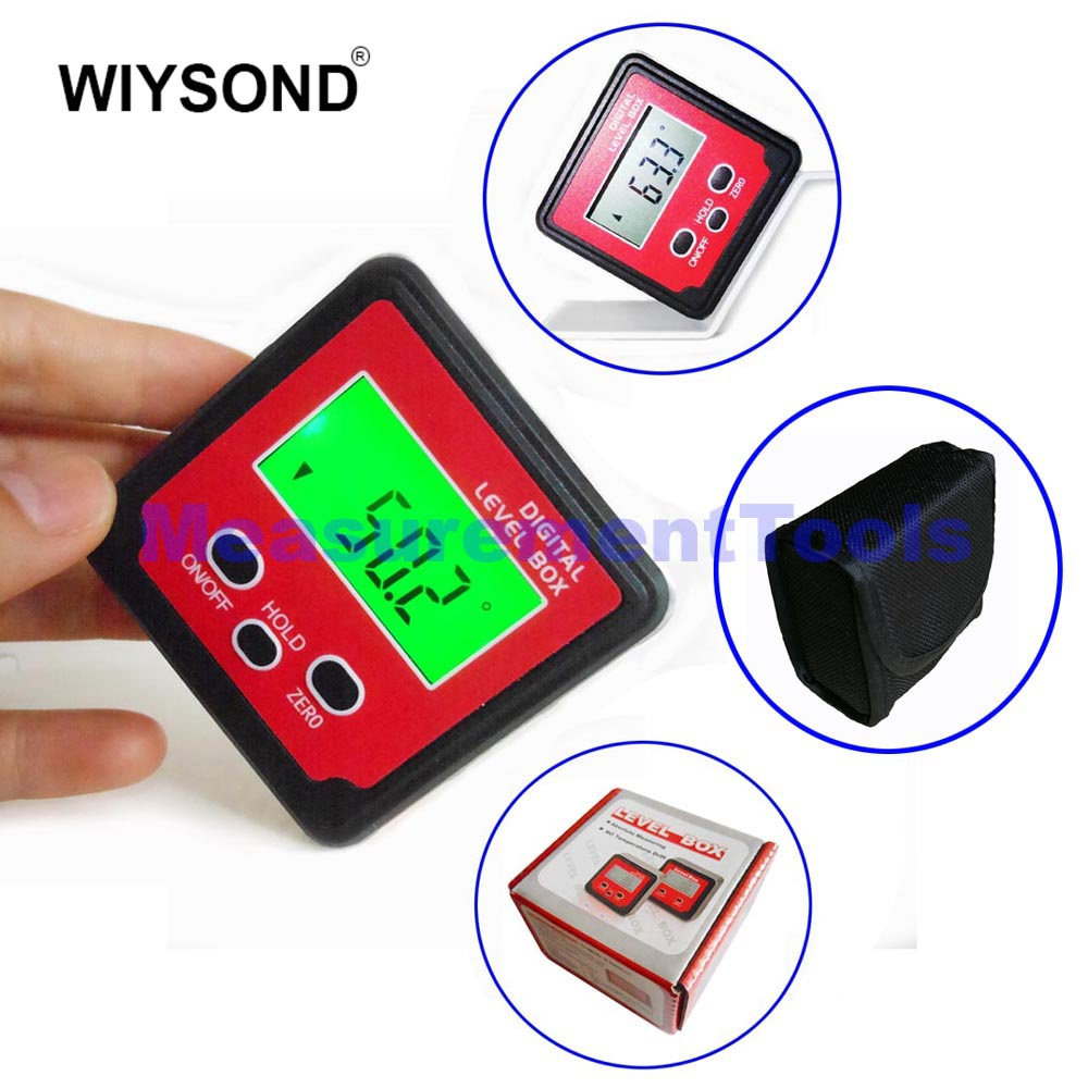 C019 2 x 180 Degree Digital Level Box Angle Gauge Meter mini Protractor 360 degrees with Magnet Base Backlight handy digital angle meter with level 0 185 degrees