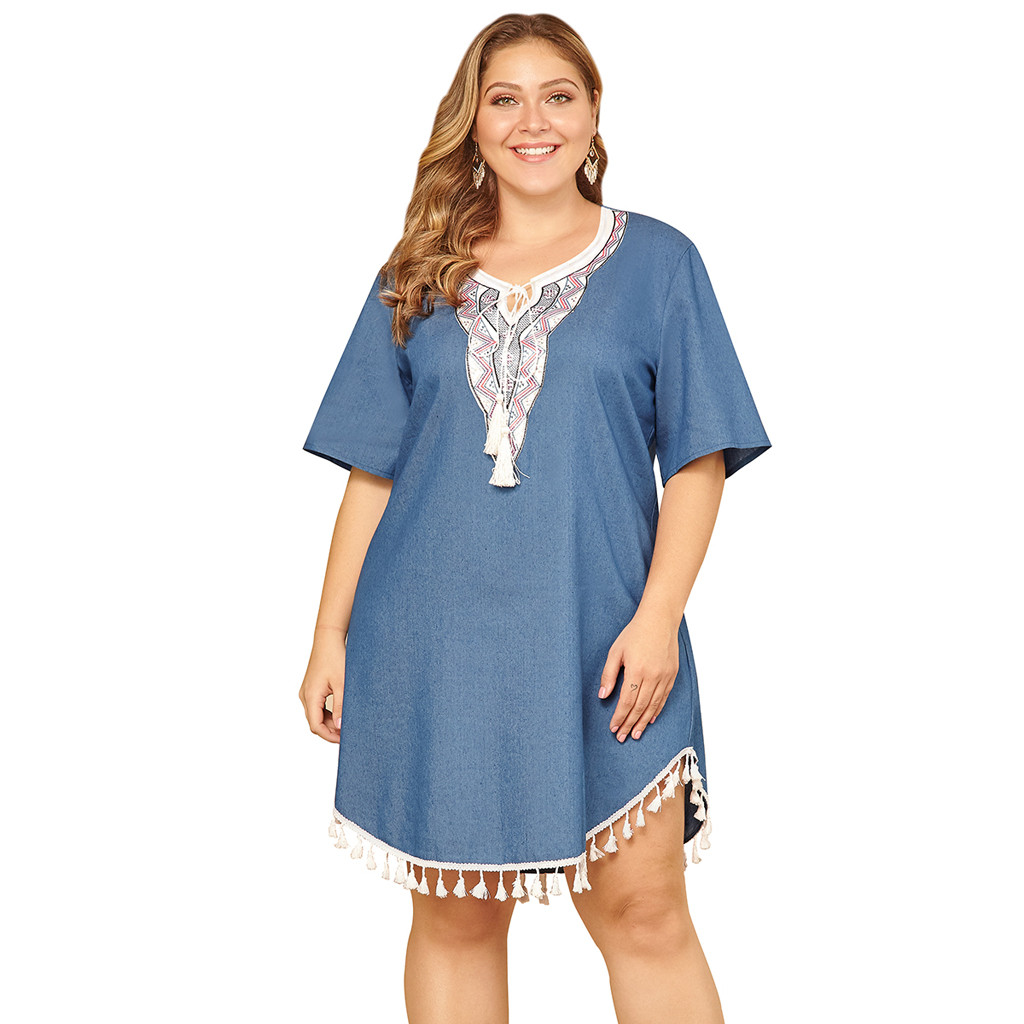 US $6.81 51% OFF|Women Dress Dummer Plus Size Dresses for Women 4xl 5xl  Embroidered tassel Vintage loose Boho Beach Denim Dress lace Party-in  Dresses ...