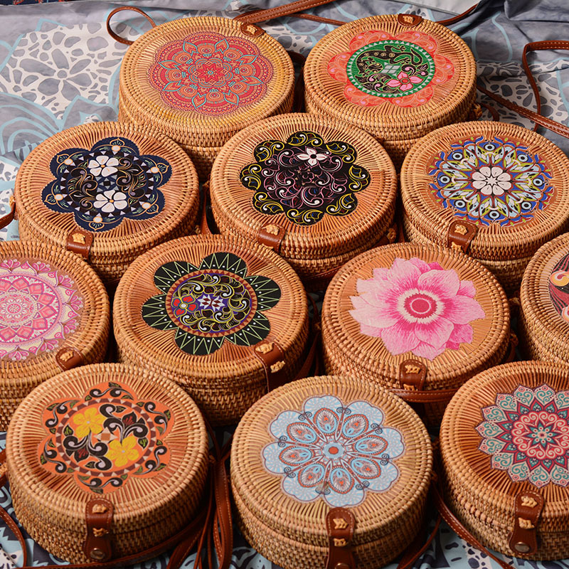 women bamboo crossbody bags flowers woven handbag clutch Circular rattan Shoulder Bags National Bohemian summer beach purse
